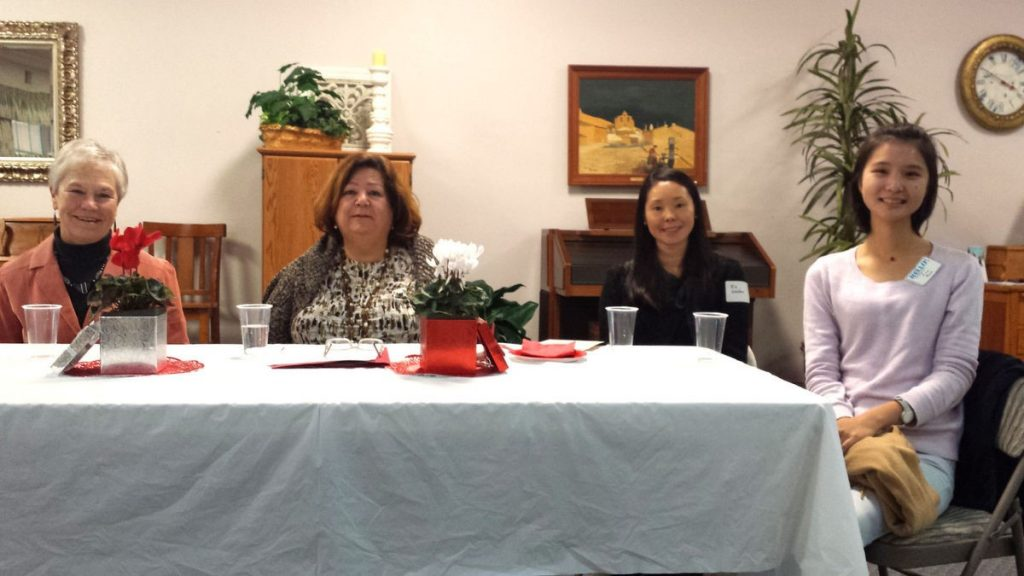 The changing roles of women in various cultures panel included Tricia Kolp, Shereen Mizany, Rie Waldon, and Eva Bao, from left.
